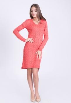 Платье трикотажное с удлиненной спинкой